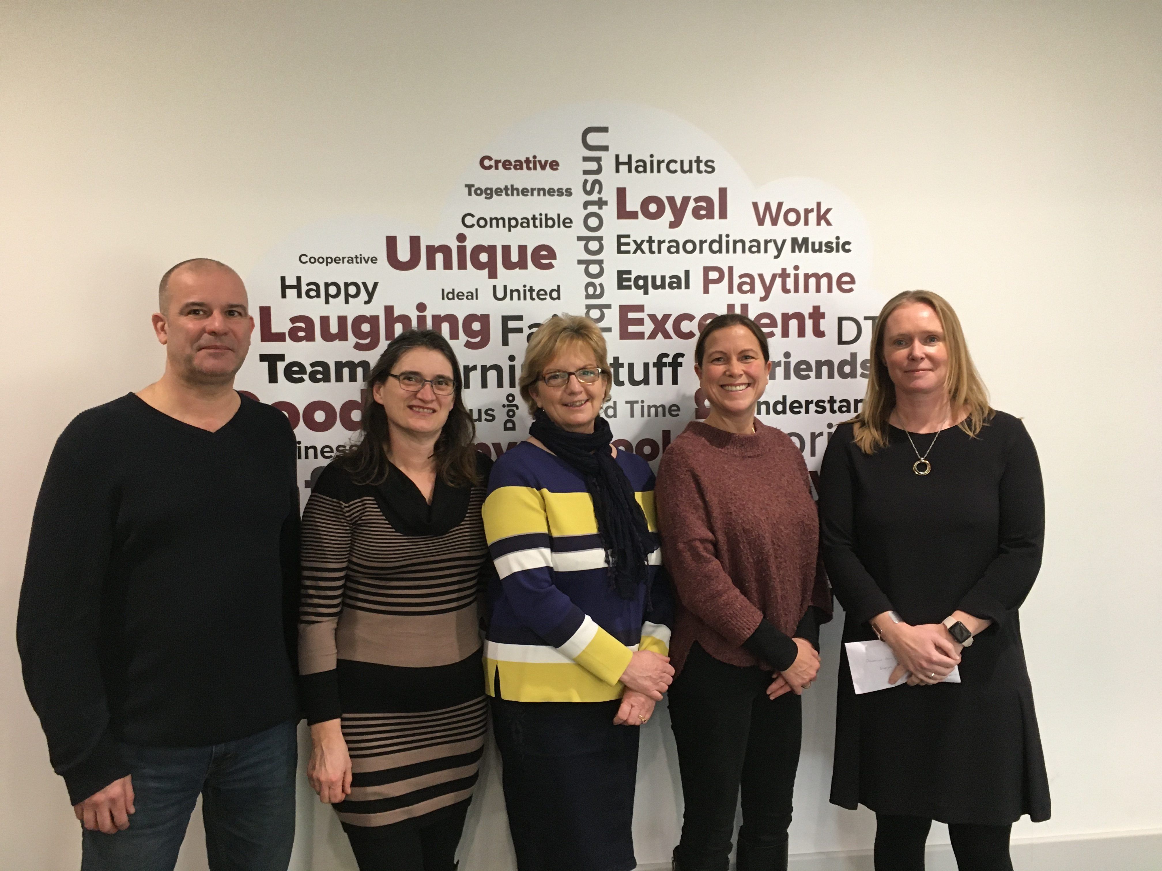 VR fundraising Mark of the Horse and Jockey, Deb and Fiona of BAGS (Binegar and Gurney Slade Social Fundraisers), Nikki of the Horse and Jockey with our exec principal Emily 21 Jan 2020