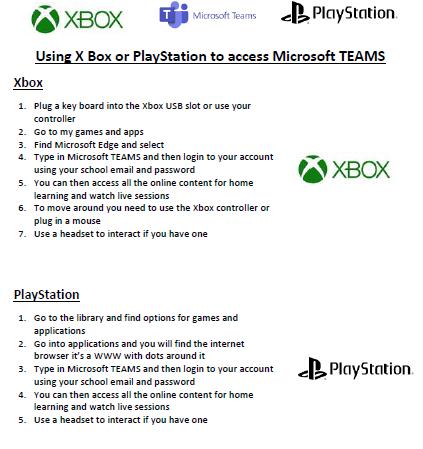 Connecting to Teams Via X-Box or PlayStation